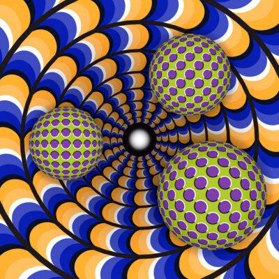 Väggdekor Optisk illusion av rotation av tre bollen runt för ett rörligt hål. Abstrakt bakgrund.