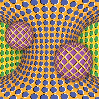Väggdekor Optisk illusion av rotation av två bollar runt av en rörlig hyperboloid. Abstrakt bakgrund.