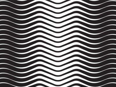 Väggdekor optisk våg abstrakt randig bakgrund svart och vitt
