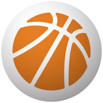Väggdekor Orange Basket ikon på sfär isolerade på vit bakgrund