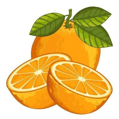 Väggdekor Orange Isolerad på vit bakgrund.