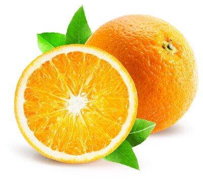 Väggdekor orange med halv orange isolerad på den vita bakgrunden