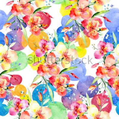 Väggdekor Orange violas bouquet botanical flowers. Wild spring leaf wildflower. Watercolor illustration set. Watercolour drawing fashion aquarelle. Seamless background pattern. Fabric wallpaper print texture.
