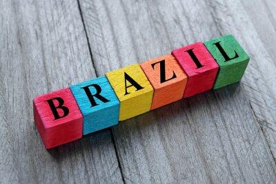 Väggdekor Ordet Brasilien på färg träkuber