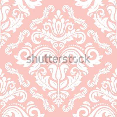 Väggdekor Orientaliskt vektor klassiskt mönster. Sömlös abstrakt bakgrund med upprepande element. Rosa och vitt mönster