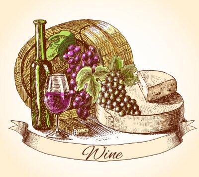 Väggdekor Ost vin och bröd bakgrund