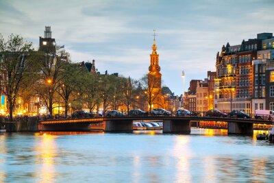 Väggdekor Översikt över Amsterdam med Munttoren