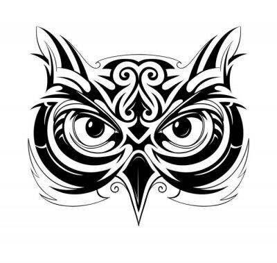 Väggdekor Owl huvud tatuering