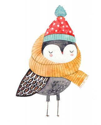 Väggdekor owl in a scarf and hat - watercolor drawing