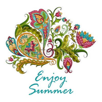 Väggdekor Paisley etnisk dekorativ prydnad för tryck. Blommig design handritad illustration.