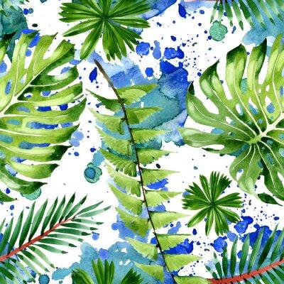 Väggdekor Palm beach tree leaves jungle botanical. Watercolor background illustration set. Seamless background pattern.