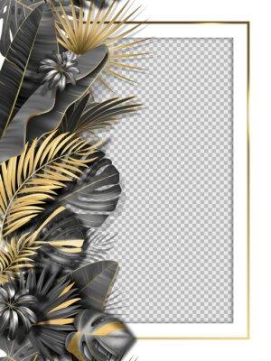 Väggdekor Palm leaves and luxurious frame in black gold color. Tropical leaf illustration on transparent background. Vector illustration for cover, photo frame, invitation, souvenir design.