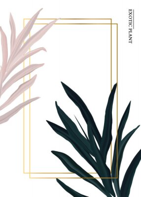 Väggdekor Palm pink and green in pastel colors, soft foliage leaves hand drawn doodle graphics background, nature wedding botanical decoration. Tender 3d realistic design with gold luxury elemets