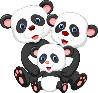 Väggdekor Panda familj tecknad