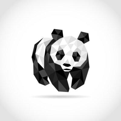 Väggdekor panda i Polygon stil. låg poly design i trianglar