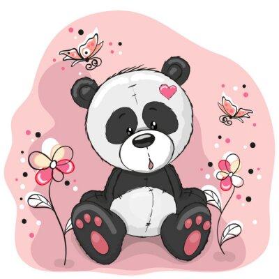 Väggdekor Panda med blommor
