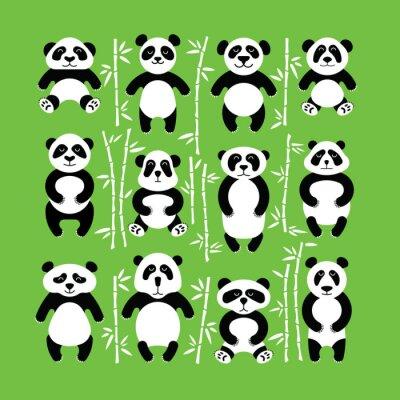 Väggdekor Pandor bära platt. Panda djur isoleras.