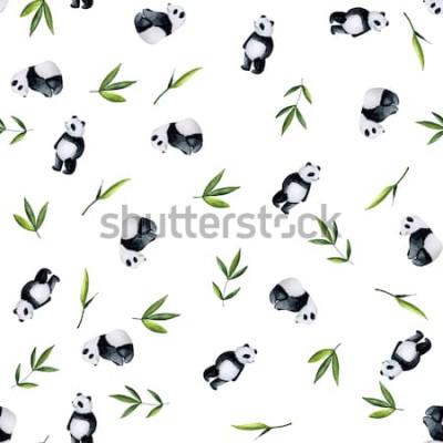 Väggdekor Pandor och bambumodell på vit bakgrund. Handmålad akvarell