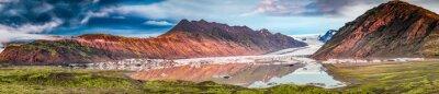 Väggdekor Panorama av vackra glaciär och sjön vid soluppgång i Island