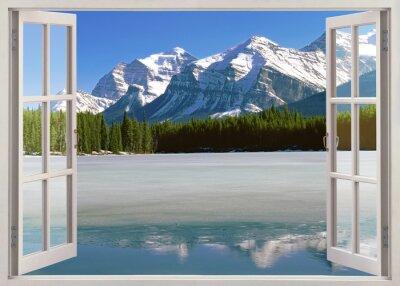Väggdekor Panorama Canadian Rockies bergen från öppna fönster