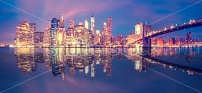 Väggdekor Panorama över Manhattan Midtown i skymning med skyskrapor, New York City