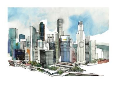 Väggdekor Panoramautsikt över vattenfärgskiss i Singapore. Stadens horisontkontur. Handrit med arkitektur. Färgglad illustration av affärsstaden för vykort, t-skjortor,