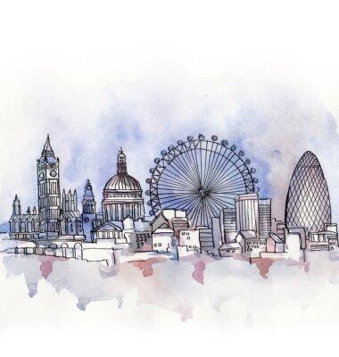 Väggdekor panoramavy över London vattenfärg av EU-land isolerad på den vita bakgrunden