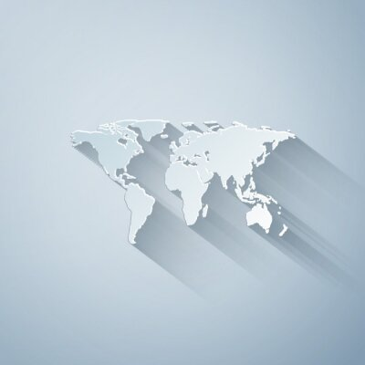 Väggdekor Paper cut World map icon isolated on grey background. Paper art style. Vector Illustration