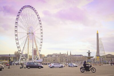 Väggdekor Paris, Frankrike - 7 februari, 2016: pariserhjul på Place de la Concorde i Paris, Frankrike