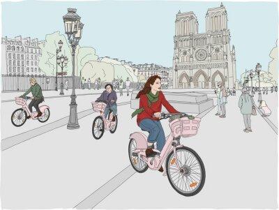 Väggdekor Paris stadsscen. En kvinna tycker om att cykla genom staden framför den berömda Notre Dame-katedralen. Handritad illustration.