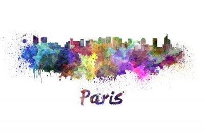 Väggdekor Paris V2 skyline i vattenfärg