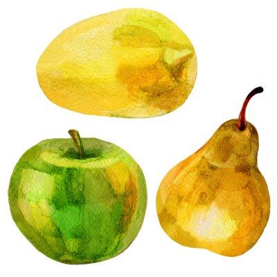 Väggdekor Päron, banan handritad målning akvarellillustration på vit bakgrund