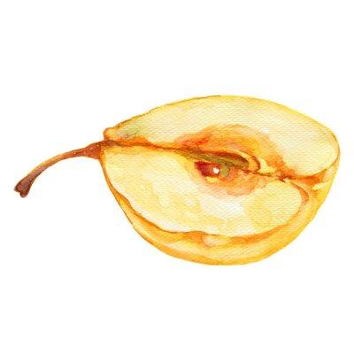 Väggdekor päron halv akvarellillustration på vit bakgrund