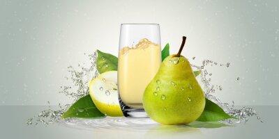 Väggdekor Päron med ett glas juice.