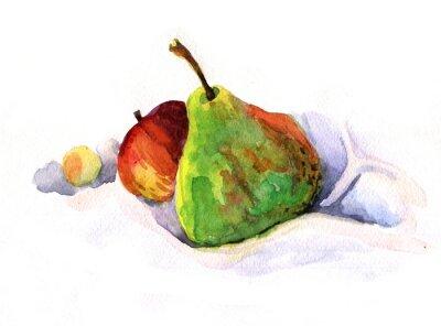 Väggdekor päron och äpple, vattenfärg