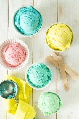 Väggdekor Pastel ice cream in white bowls, wood background, copy space