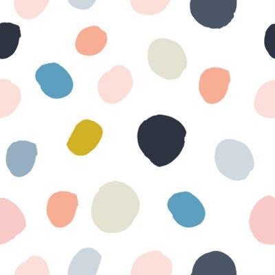 Väggdekor Pastellpulver rosa, marinblå, lax, beige, grå akvarell handmålad polka dot sömlös mönster på vit bakgrund. Akrylbläckcirklar, konfetti runt struktur. Abstrakt vektor, gratulationskort.