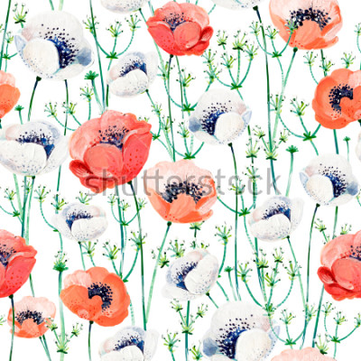 Väggdekor Pattern consist of white and coral Anemones, white inflorescences on the green stems.