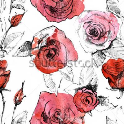 Väggdekor Penna, akvarell handritual realistisk röd ros blomma högtidligt monster. Botanisk konstmålning illustration. Vintage design för skissbok, resebok, gratulationskort, vykort, inbjudan, tyg.