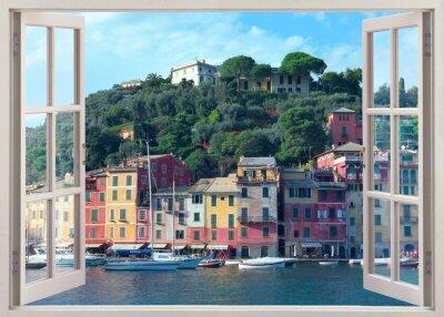 Väggdekor penna fönster utsikt till gamla Portofino, Italien