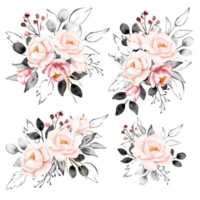 Väggdekor Peonies, watercolor pink and gray flowers set. Floral summer vintage collection isolated on white background. Hand drawing. Perfectly for wedding, birthday, party, other greetings design.