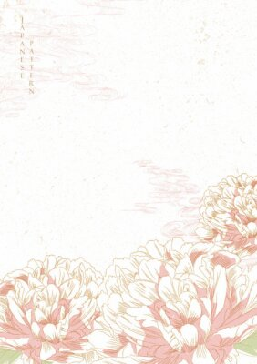 Väggdekor Peony flower background vector. Japanese wave template. Save the date invitation card.