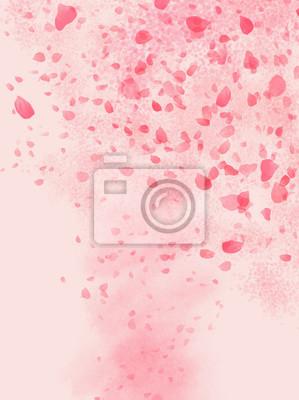 Väggdekor Pink colored Rose leaves flowing in shaped of storm background illustration