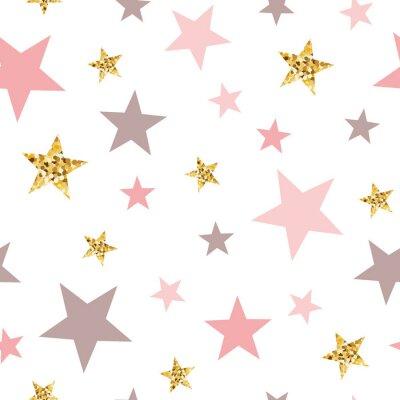Väggdekor Pink seamless pattern gold glitter stars pink for Christmas backgound or baby shower sweet girl design