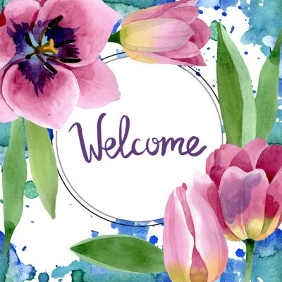 Väggdekor Pink tulips floral botanical flowers. Watercolor background illustration set. Frame border ornament square.