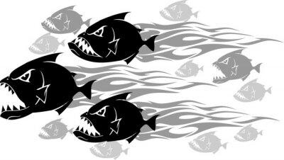 Väggdekor Piranha Feeding Frenzy