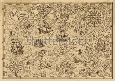 Väggdekor Pirate Map with old sailing ships, fantasy creatures, treasure islands. Pirate adventures, treasure hunt and old transportation concept. Hand drawn vector illustration, vintage background