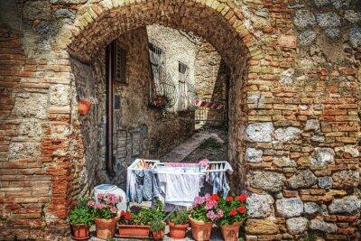 Väggdekor pittoreska hörn i San Gimignano