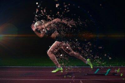 Väggdekor pixelated utformning av kvinna sprinter lämnar startgroparna