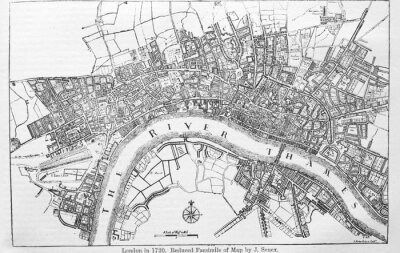 Väggdekor Plan of London in 1720 in the old book The Encyclopaedia Britannica, vol. 14, by C. Blake, 1882, Edinburgh